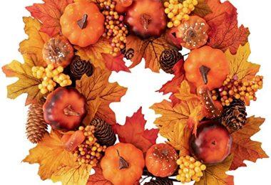HBlife 15 inch Fall Door Wreath Autumn Maple Leaf Pumpkin Pinecone Harvest Wreath